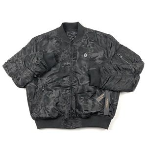 Cult of Individuality Reversible Black Camo Bomber